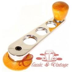 Set de 2 manivelas elevalunas cromado y botón madera