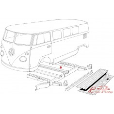 Perfil transversal de chassis T2 50-79 (3 piezas por vehiculo)