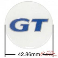 Juego de 4 adhesivos para tapacubos GT azul / blanco (diámetro 43 mm)