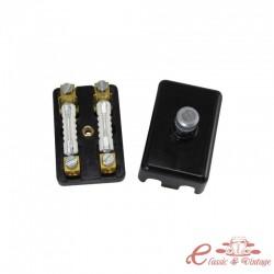 Caja de fusibles universal de 2 fusibles (tapa atornillada, suministrada con fusibles)