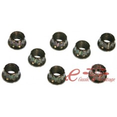 kit de 8 tuercas 8mm en cromo para escape o carburadores