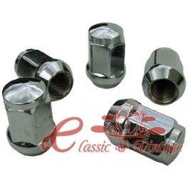 Set de 5 tuercas cromadas conicas (14x1,5) cabeza 17mm