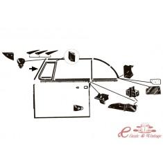 Junta vertical de ventanal de parabrisas izq o der cabriolet 65-79