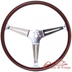 """Volante FLAT 4 GT 3 brazos cromados y contorno de madera diamètre 15 1/2"""""""